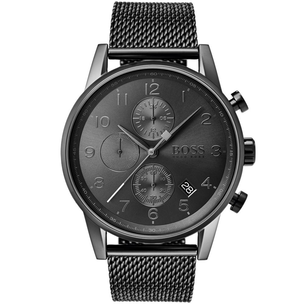 Boss Navigator Grey Steel Mesh Men's Watch - 1513674