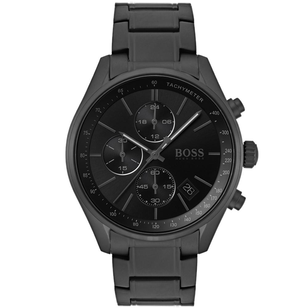 Boss Grand Pix Black Steel Men's Chrono Watch - 1513676