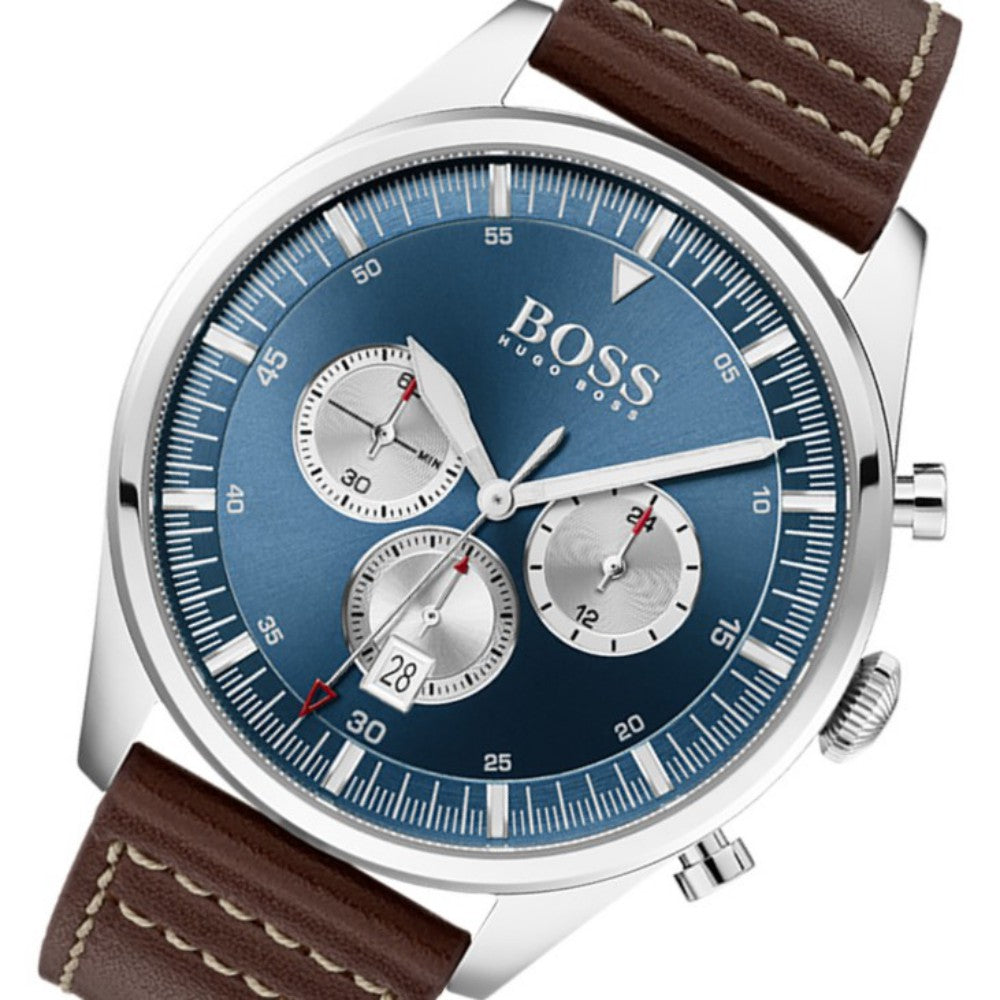 Hugo Boss Pioneer Brown Leather Men's Chrono Watch - 1513709