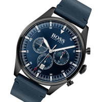 Hugo Boss Pioneer Blue Leather Men's Chrono Watch - 1513711