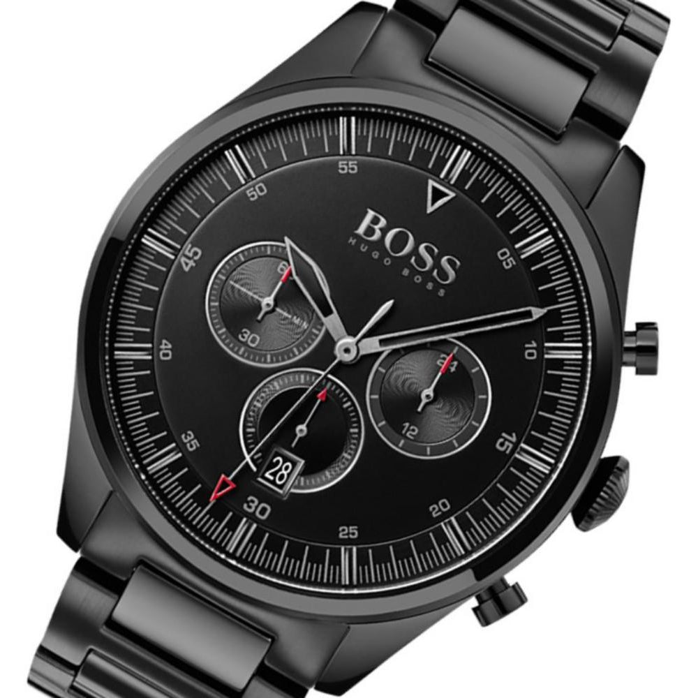 Hugo Boss Pioneer Black Steel Men's Chrono Watch - 1513714
