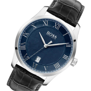 Hugo Boss Master Black Leather Men's Watch - 1513741
