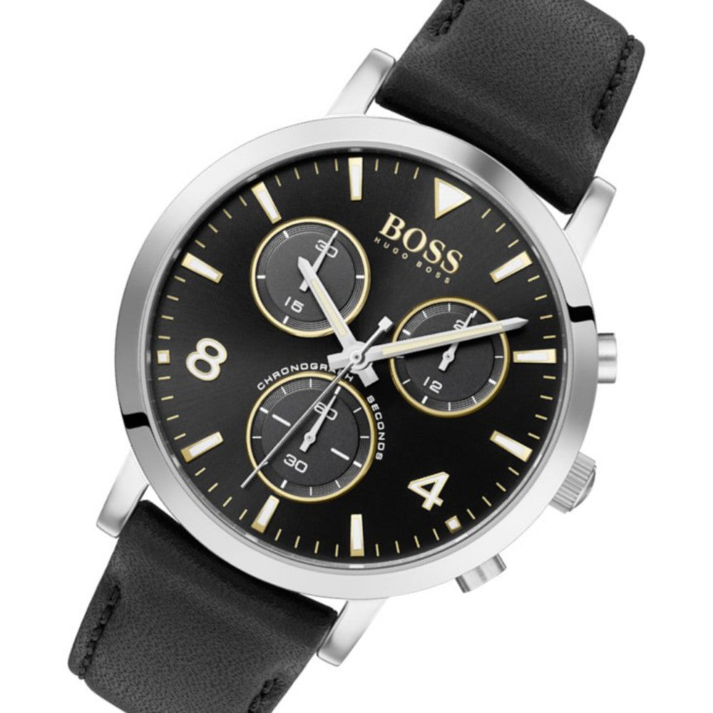 Hugo Boss Spirit Black Leather Men's Chrono Watch - 1513766