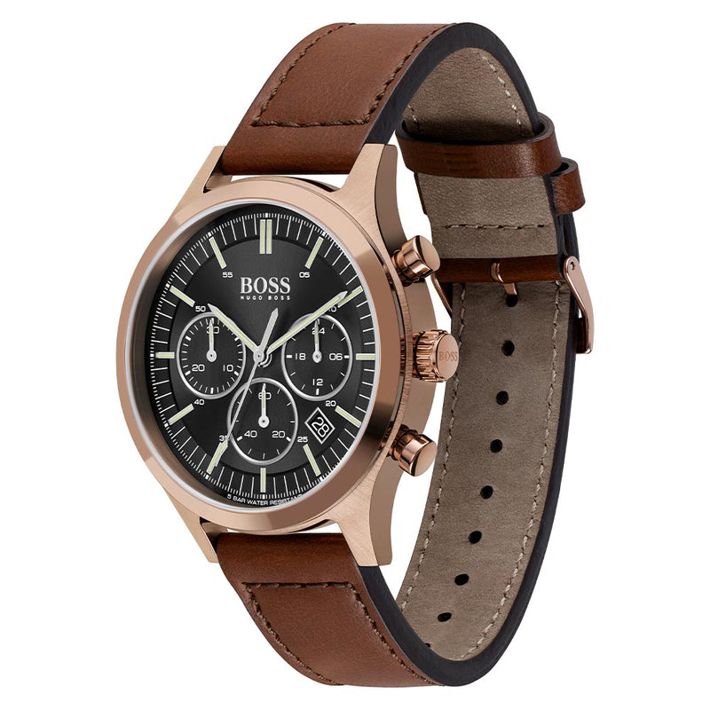 Hugo Boss Metronome Brown Leather Men's Chrono Watch - 1513800
