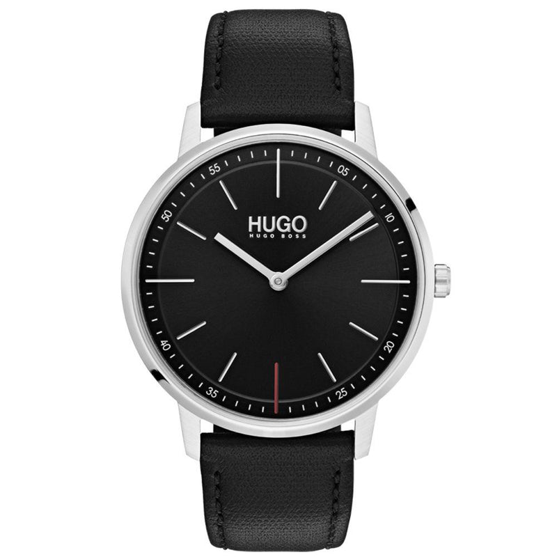 Hugo Exist Black Leather  Men's Watch - 1520007