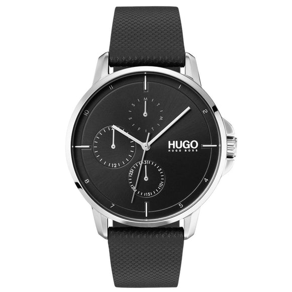 Hugo Focus Black Leather  Men's Watch - 1530022