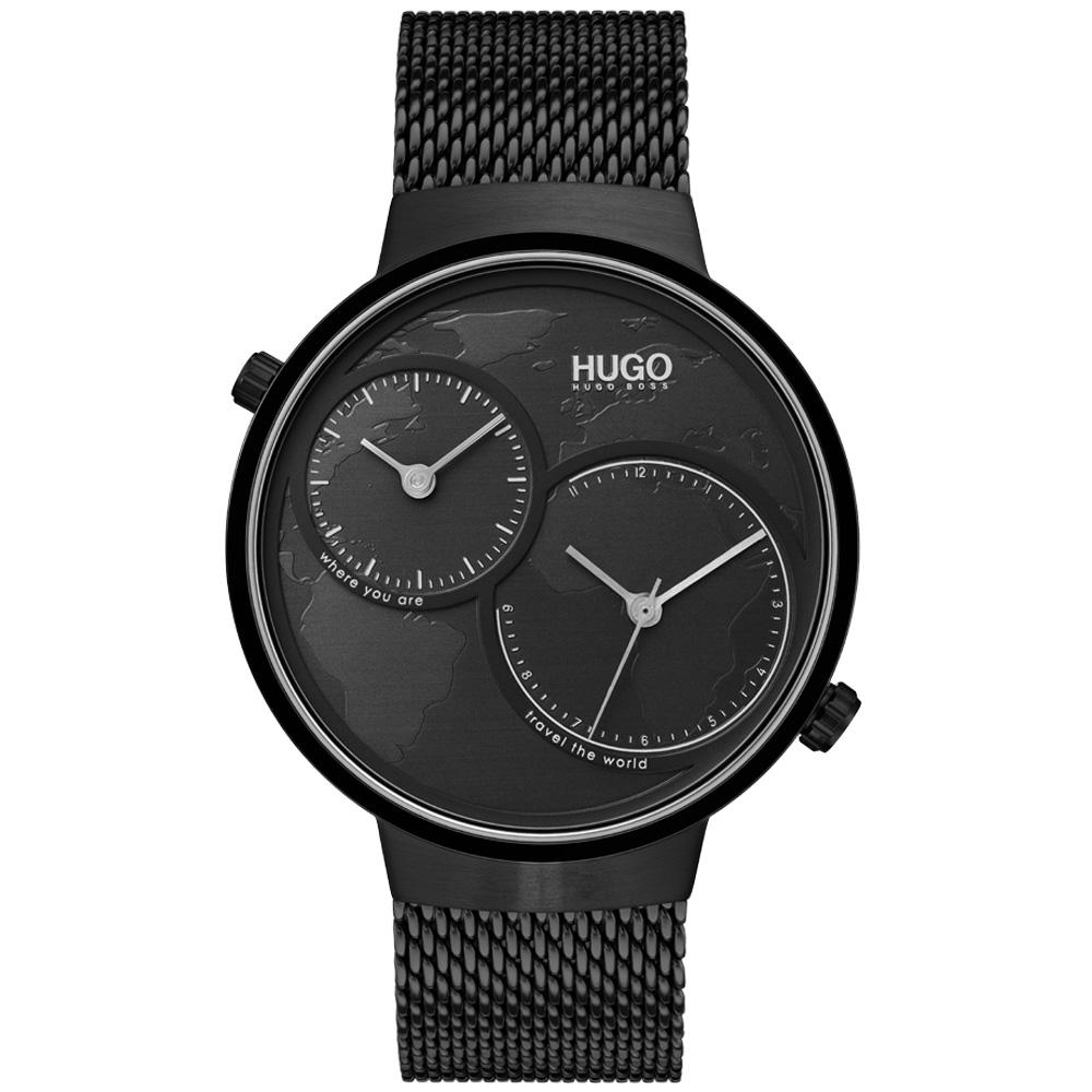 Hugo Travel Black Mesh Men's Dual-Time Watch - 1530056