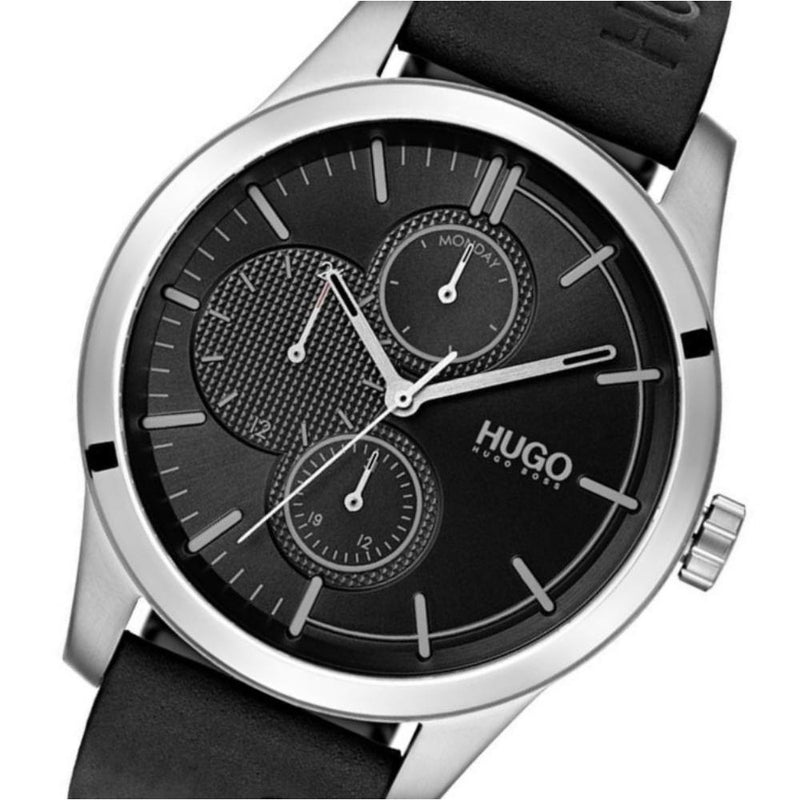 Hugo Discover Multifunctional Black Leather Men's Watch - 1530082