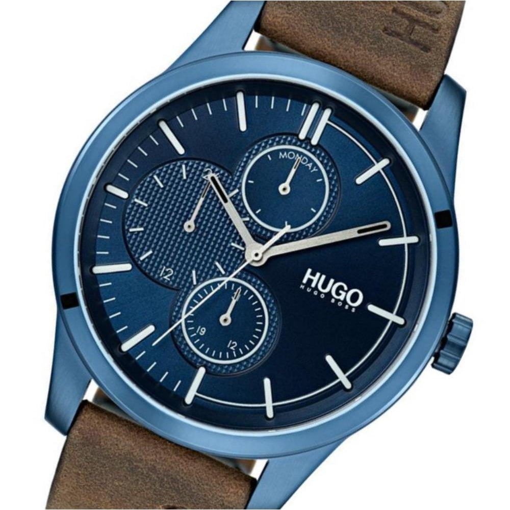 Hugo Discover Multifunctional Brown Leather Men's Watch - 1530083