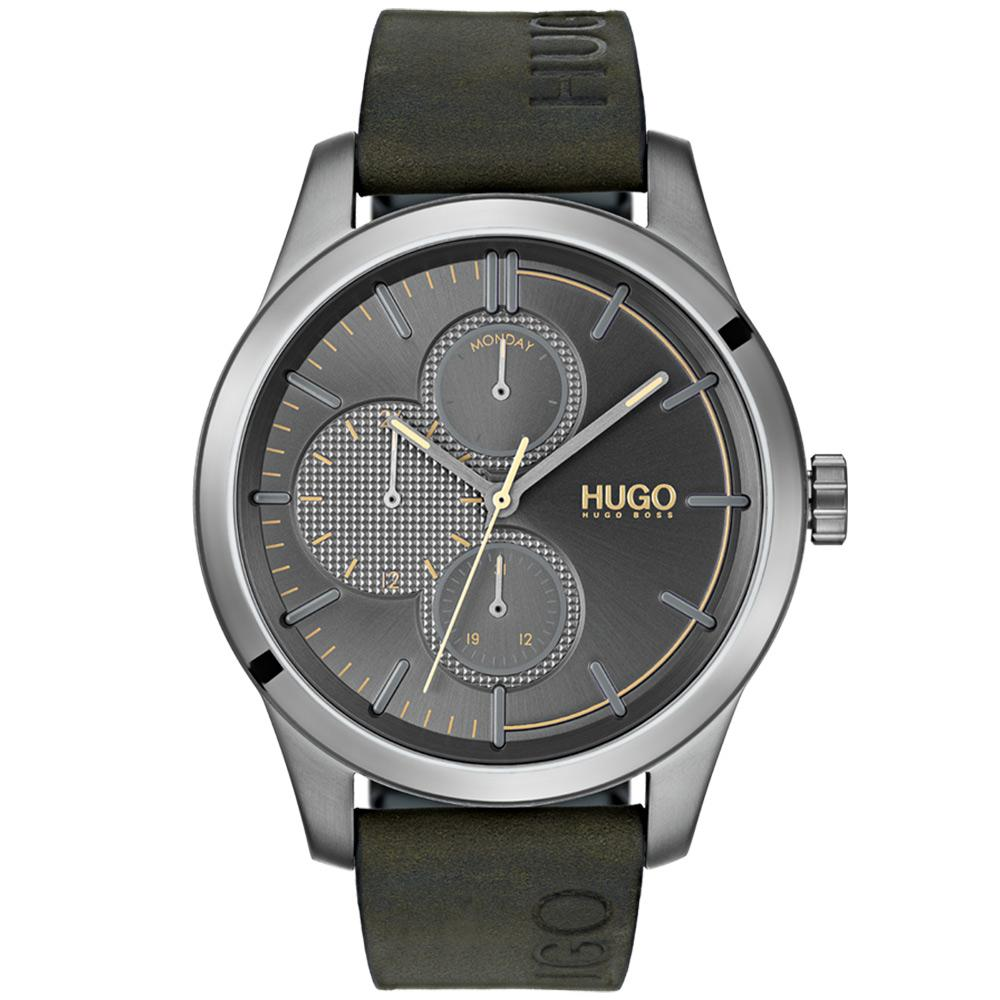 Hugo Discover Multifunctional Khaki Leather Men's Watch - 1530084
