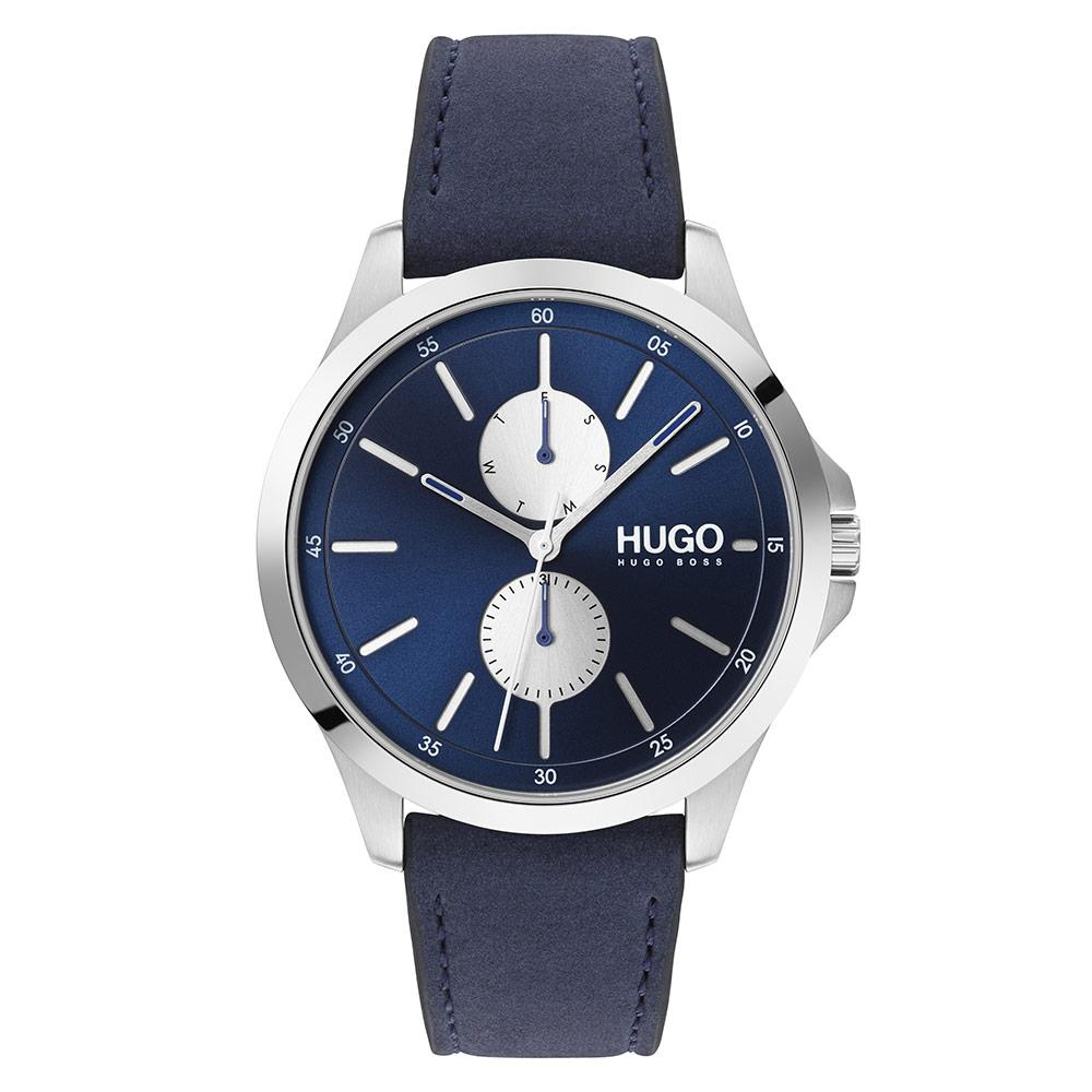 Hugo Jump Blue Leather Men's Multi-function Watch - 1530121
