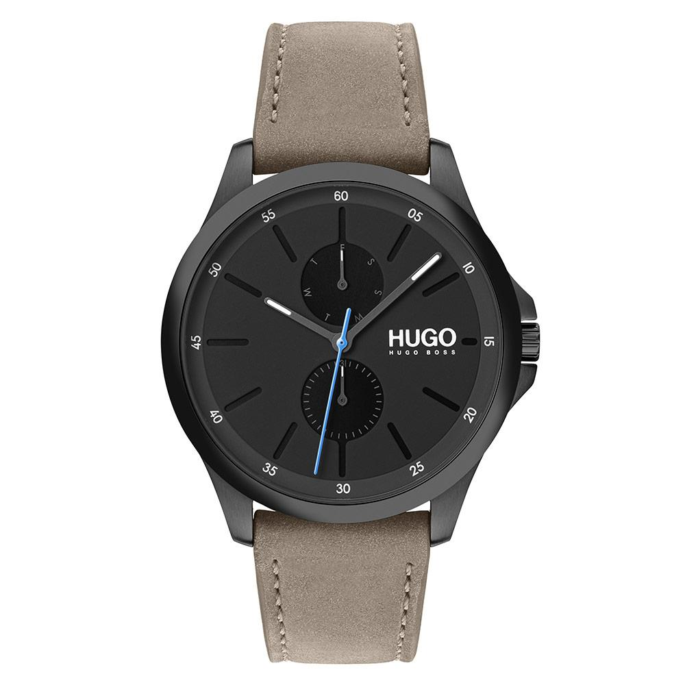 Hugo Jump Beige Leather Men's Multi-function Watch - 1530122