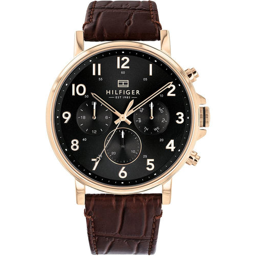 Tommy Hilfiger Multi-function Brown Leather Men's Watch - 1710379