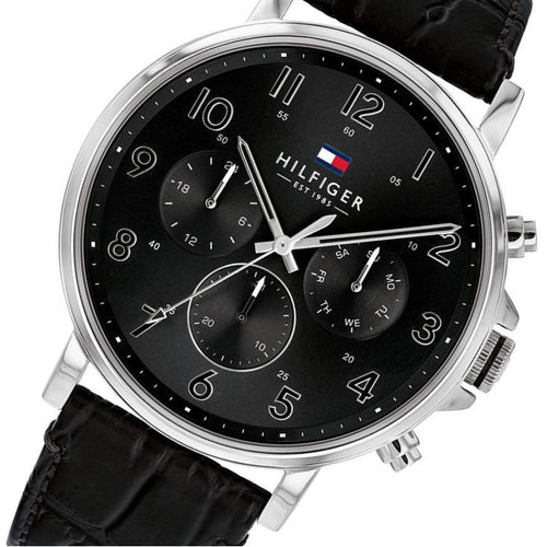 Tommy Hilfiger Multi-function Black Leather Men's Watch - 1710381