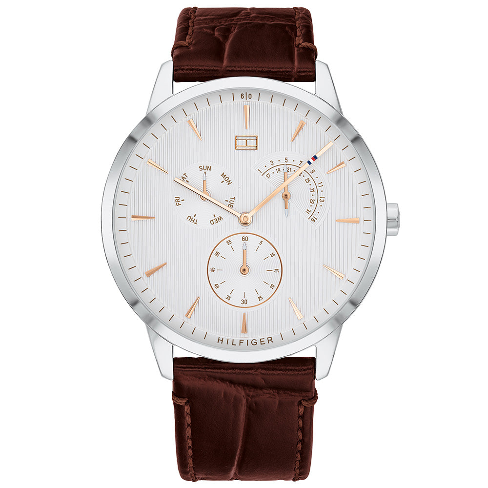 Tommy Hilfiger Classic Brown Leather Men's Watch - 1710389