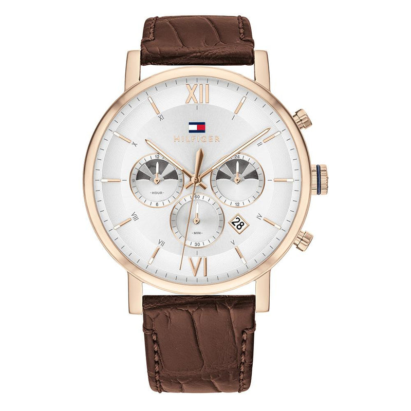 Tommy Hilfiger Dark Brown Leather Men's Multi-function Watch - 1710394