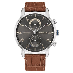 Tommy Hilfiger Multi-function Brown Leather Men's  Watch - 1710398