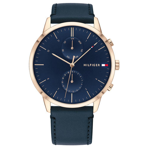 Tommy Hilfiger Blue Leather Men's Multi-function Watch - 1710405