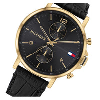 Tommy Hilfiger Black Leather Men's Multi-function Watch - 1710417