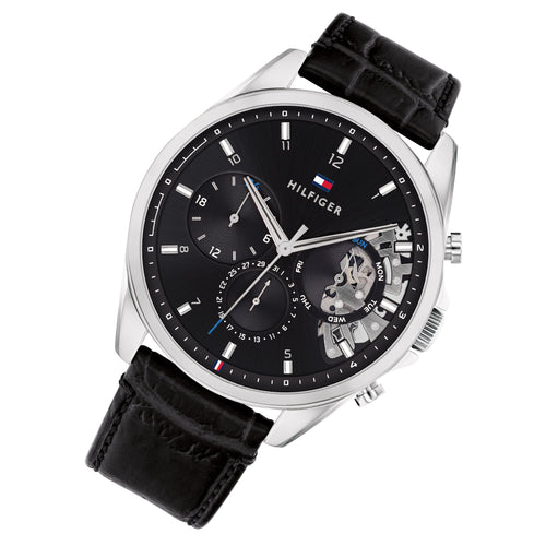 Tommy Hilfiger Black Leather Men's Multi-function Watch - 1710449