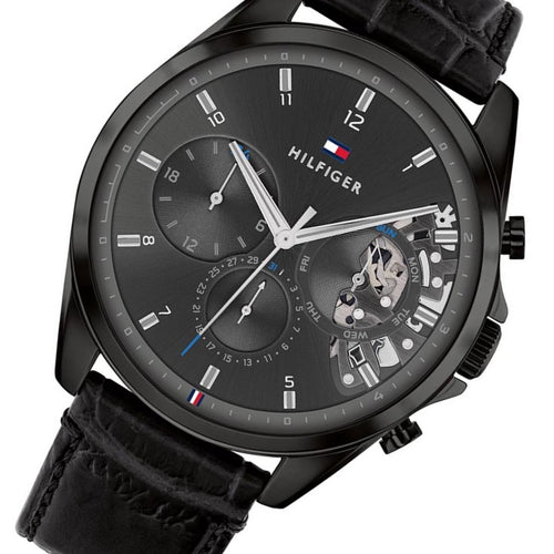 Tommy Hilfiger Black Leather Men's Multi-function Watch - 1710452