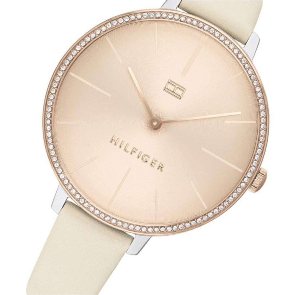 Tommy Hilfiger Beige Leather Ladies Slim Watch - 1782111