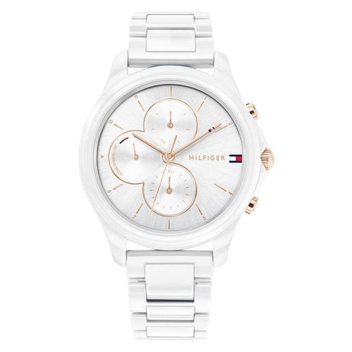 Tommy Hilfiger White Ceramic & Steel Ladies Multi-function Watch - 1782262