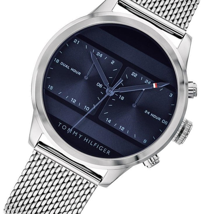 9dab8439 Tommy Hilfiger Men's Silver Dual-Time Mesh Watch - 1791596 – The ...