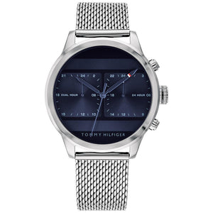 Tommy Hilfiger Men's Silver Dual-Time Mesh Watch - 1791596