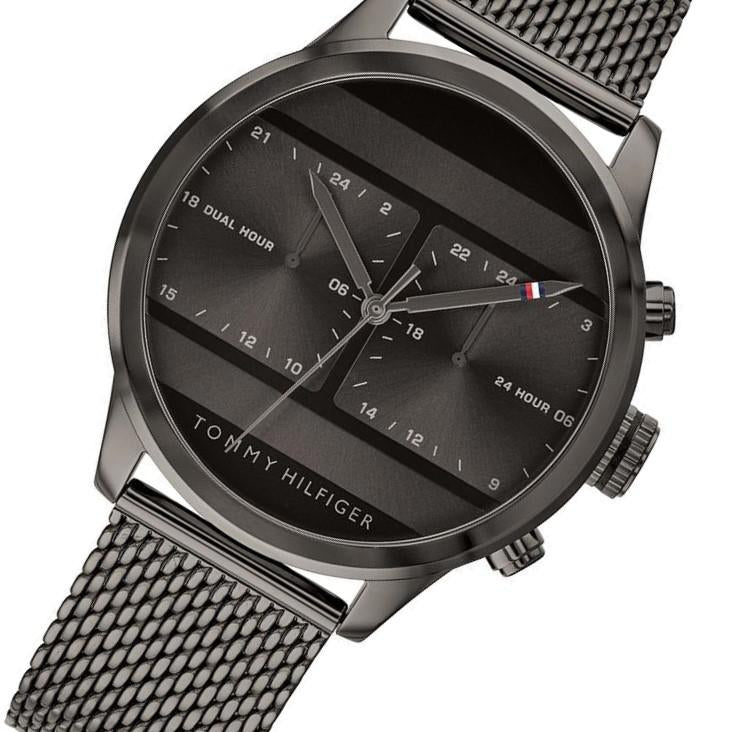 Tommy Hilfiger Men's Dual Time Black Mesh Watch - 1791597