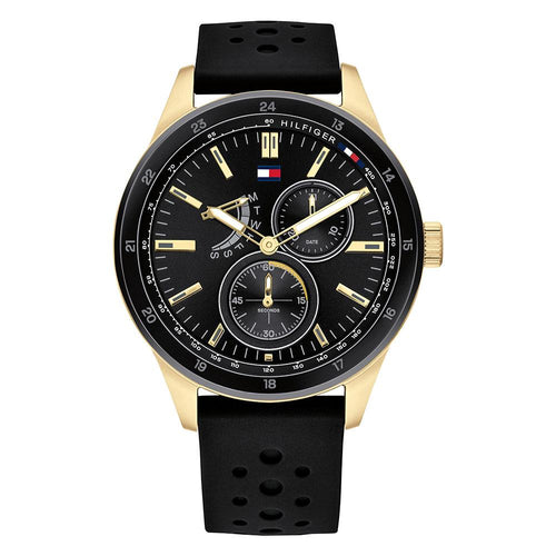 Tommy Hilfiger Multi-function Black Silicone Men's Watch - 1791636