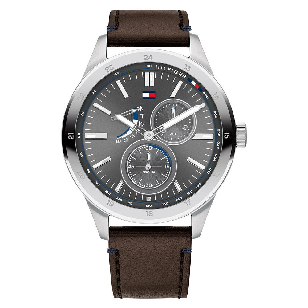 Tommy Hilfiger Multi-function Brown Leather Men's Watch - 1791637