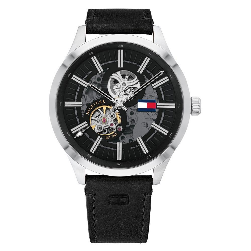 Tommy Hilfiger Black Leather Men's Automatic Watch - 1791641