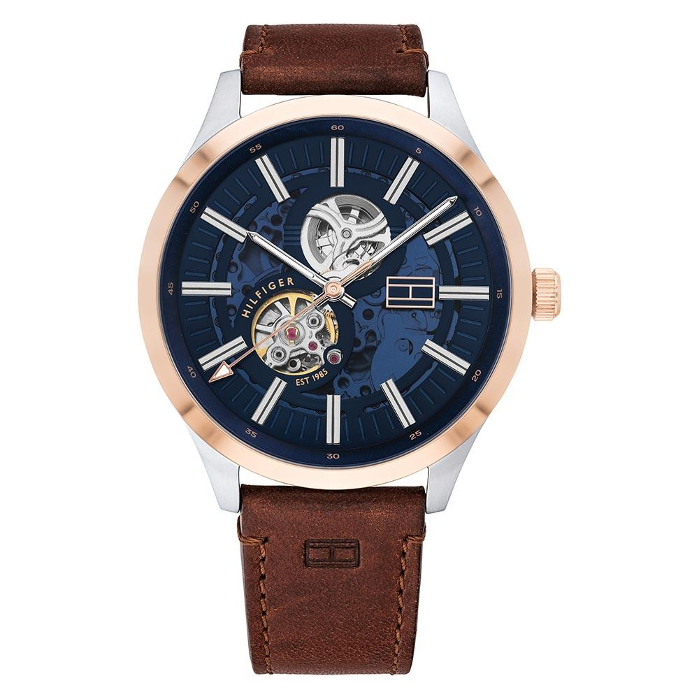 Tommy Hilfiger Brown Leather Men's Automatic Watch - 1791642