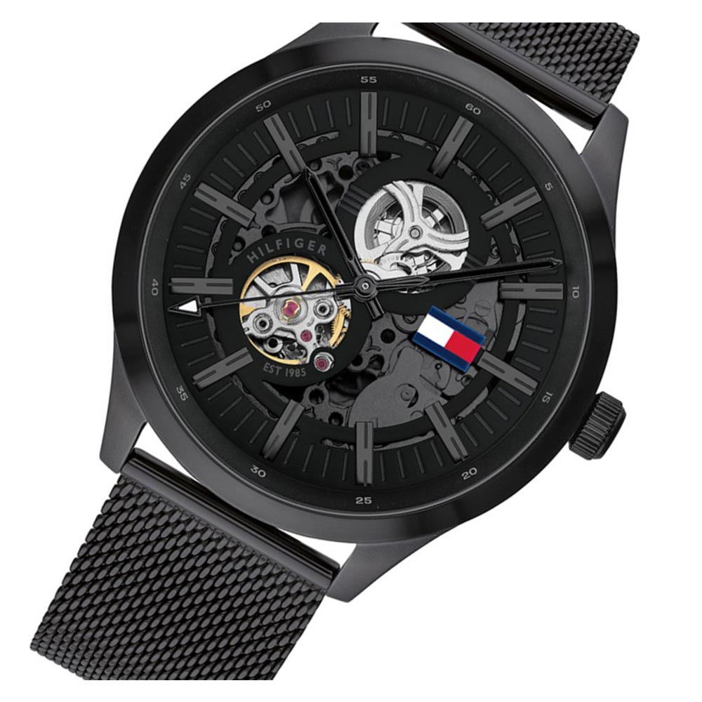 Tommy Hilfiger Black Mesh Men's Automatic Watch - 1791644