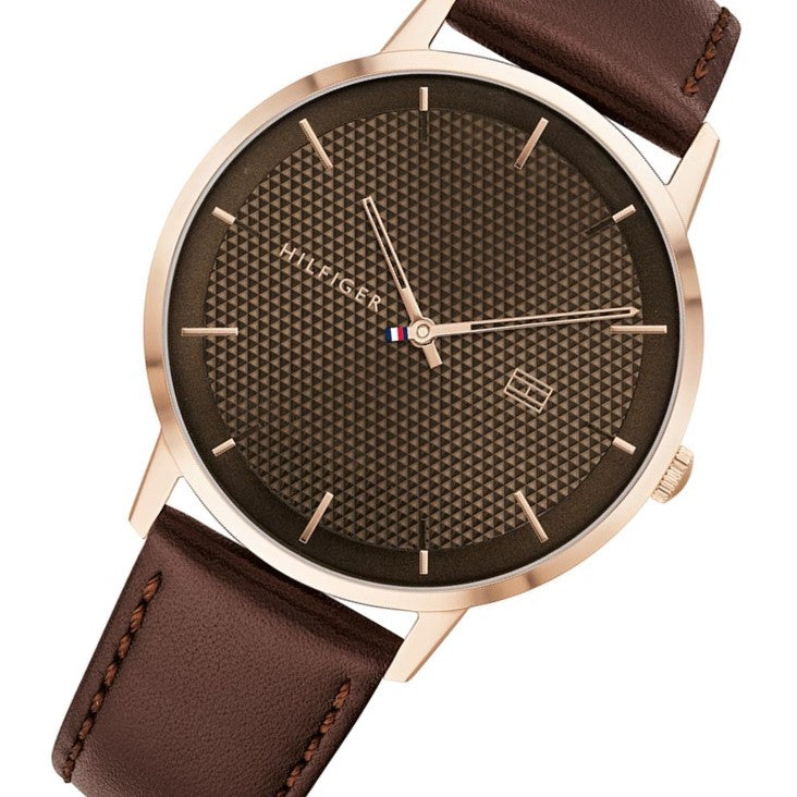Tommy Hilfiger Dark Brown Leather Men's Watch - 1791653