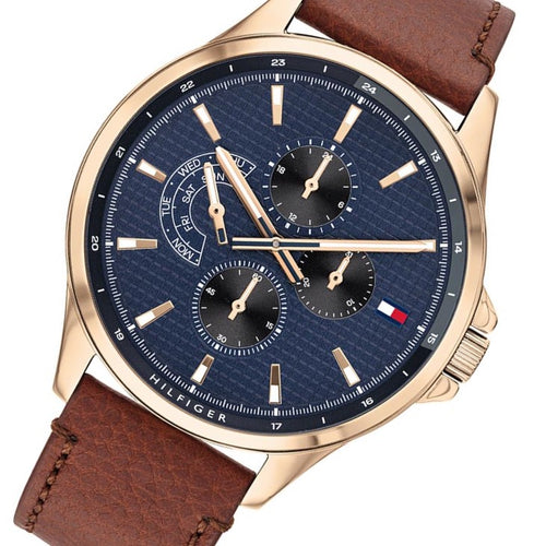 Tommy Hilfiger Brown Leather Men's Multi-dial Watch - 1791696