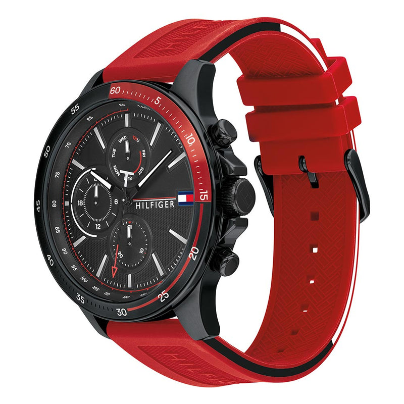 Tommy Hilfiger Red Silicone Band Men's Multi-function Watch - 1791722