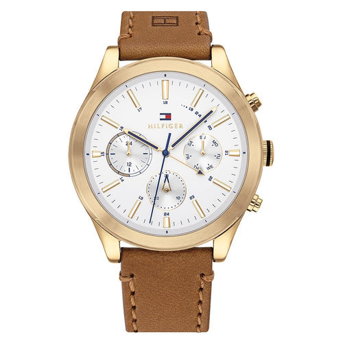 Tommy Hilfiger Light Brown Leather Men's Multi-function Watch - 1791742