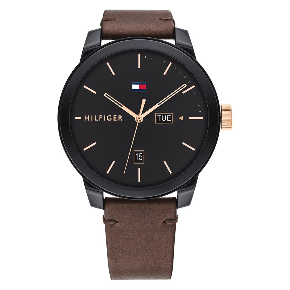 Tommy Hilfiger Denim Brown Leather Men's Watch - 1791748