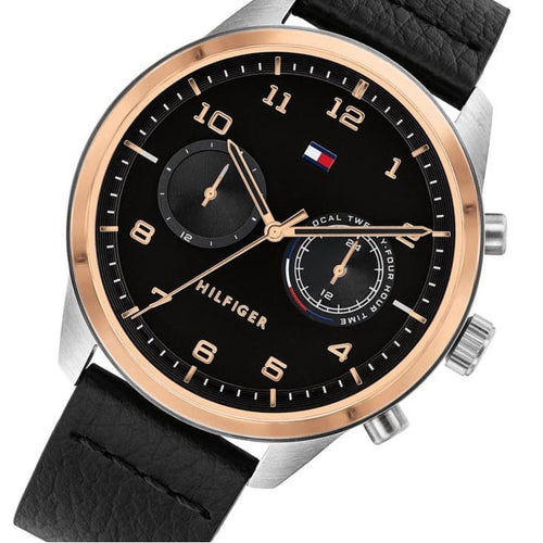 Tommy Hilfiger Patrick Black Leather Men's Multi-function Watch - 1791786