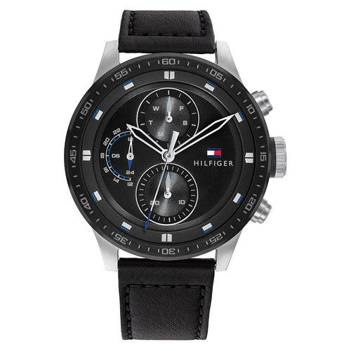 Tommy Hilfiger Black Leather Men's Multi-function Watch - 1791810