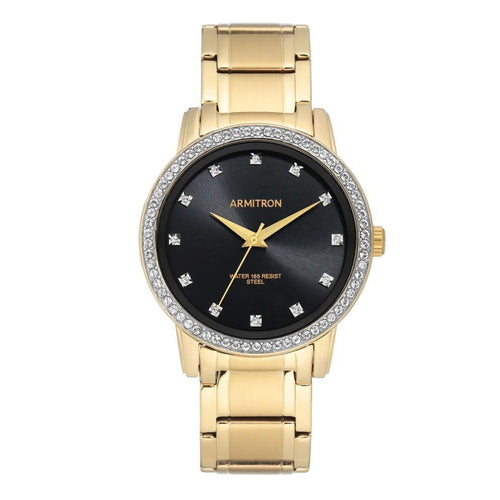 Armitron Gold-Tone Stainless Steel with Crystals Men's Watch - 205328BKGP