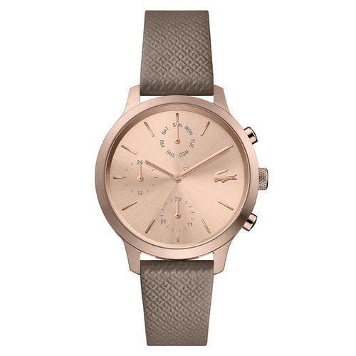 Lacoste 12.12 Taupe Leather Women's Multi-function Watch - 2001150