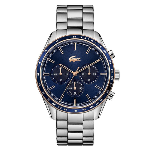 Lacoste Boston Stainless Steel Blue Dial Men's Chrono Watch - 2011081