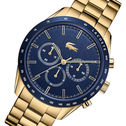 Lacoste Boston Gold Steel Blue Dial Men's Chronograph Watch - 2011096