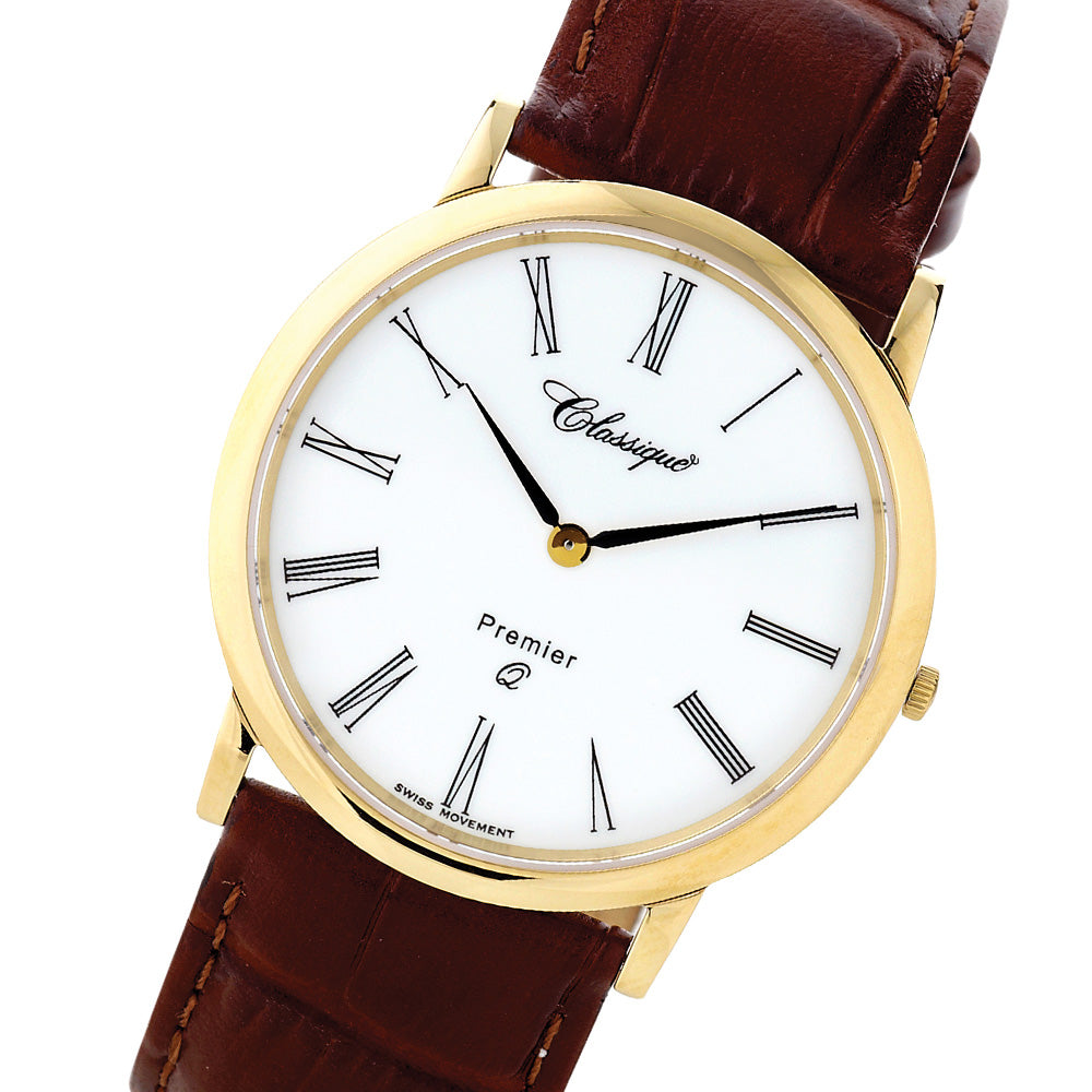 Classique Elegance Leather Men's Swiss Premier Watch - 28145G