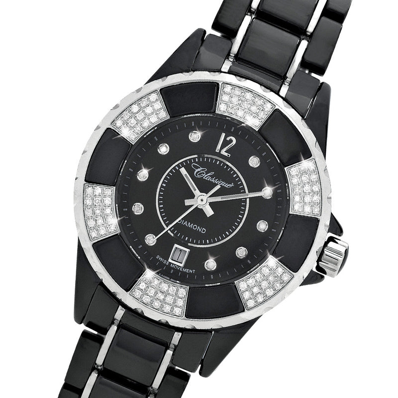 Classique 100 Diamond Set Black Ceramic Ladies Swiss Watch - 28147BDD
