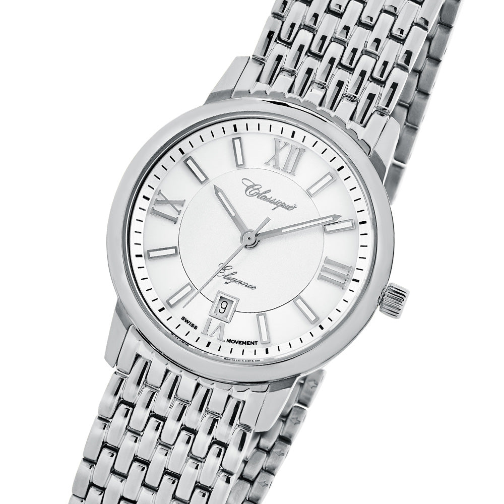 Classique Elegance 60 Diamond Set Stainless Steel Ladies Swiss Watch - 28150W
