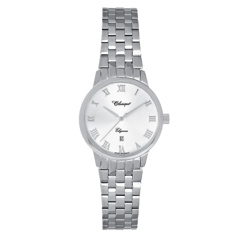 Classique Elegance Stainless Steel Ladies Swiss Watch - 28102W